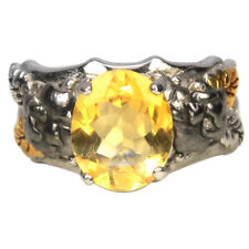 NATURAL AAA ORANGISH YELLOW CITRINE OVAL STERLING 925 SILVER FLOWER RING 7.75