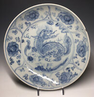 Antique Ming Dynasty Chinese Blue & White Qilin 16th C. Porcelain Plate Bowl
