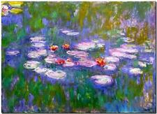 """CLAUDE MONET ~ Water Lilies red *FRAMED* CANVAS ART 24x16"""""""