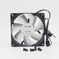 80mm Computer PC WHITE Case Cooling Fan Quiet Sleeve Bearing w/ Screw