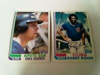 1982 Topps Mike Squires + Bobby Bonds White Sox and Cubs