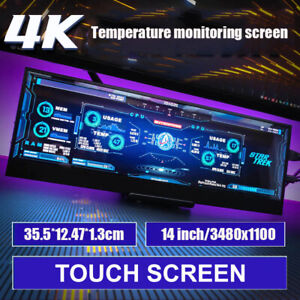 14 Inch 4k 3840 x 1100 Type C Portable Monitor Touch Screen IPS LCD AIDA64 PC