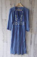 NWOT $168 Free People Flora Gauze Midi Dress Velvet Trim Embroidered Blue S