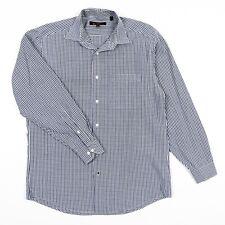 Ben Sherman Shirt Gingham Blue Check Pattern  Men's Neck 15.5 & Sleeve 32/33 EUC