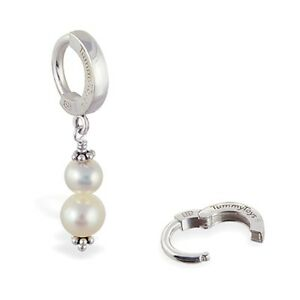 TummyToys Sterling Silver Navel Ring with Custom Freshwater Pearl Drop[TT-69004]