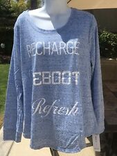 Style & Co Large Heathered Blue Recharge Refresh Reboot Top NWT