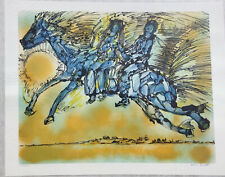 Yanni Posnakoff numbered/pencil signed lithograph Blue Couple On Horse 253/275