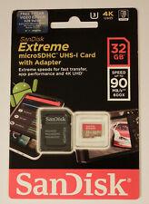 NEW SanDisk Extreme 32GB MicroSDHC Memory Card w/ Adapter U3 SDSQXVF-032G-GN6MA