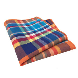 Orange, Blue, Red and Yellow Plaid Pocket Square