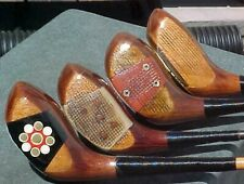 4 Old PERSIMMON Golf Clubs Rare Woods Spalding Sherlock Priotyick Drivers woods