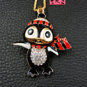 Betsey Johnson Black Enamel Rhinestone Penguin Crystal Pendant Chain Necklace