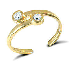 over Torque Toe Ring Gift Boxed 9ct Yellow Gold Cubic Zirconia Solid Cross
