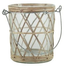 Bamboo Braided Tealight Holder With Metal Handle by Ib Laursen