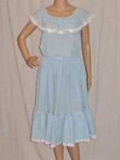 Vintage 50s Prairie Dress Skirt Top Patio Set Baby Blue Gauze Mexican Wedding S
