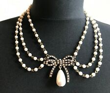 ZARA BEAUTIFUL DELICATE FAUX WHITE PEARLS ICE RHINESTONES GOLD BOW NECKLACE