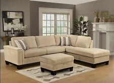 Modern 2Pc Taupe Finish Velvet Sectional Sofa Chaise Set Living Room  Furniture
