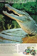 Publicité advertising 1972 Le Monde Fabuleux des animaux chez esso Crocodile
