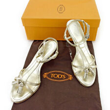 Tod's Flip Flops Gold Silver Woman Authentic Used T5391