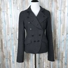 Madewell 6 Buckley Tailors Gray 100% Wool Fitted Military Jacket Coat Button