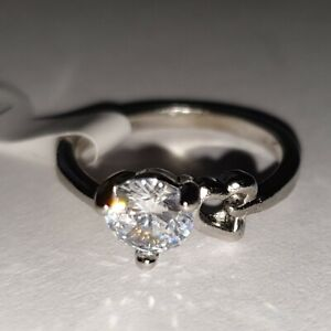 White Gold Finish 0.8ct Simulated Diamond Solitaire Engagement Ring UK Size L/M