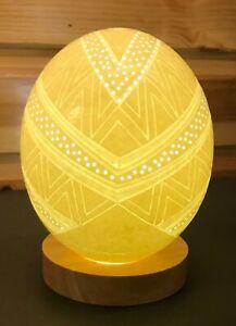 Ostrich Egg Lamp with White LED Lighting - NAMIB Design
