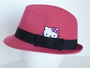 Hello Kitty Pink Black Band 100% Cotton One Size Youth Trilby Hat Sanrio