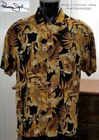 Panama Jack Hawaiian Golden Parrots Beer Mugs Black Rayon Short Sleeve Shirt LG