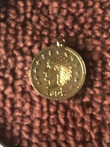1852 california gold token Charm SOLID 14KT. Gold