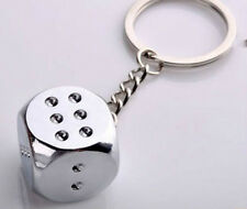 Polished Chrome Silver Smooth Surface Dice Key Chain Ring Keychain Keyring