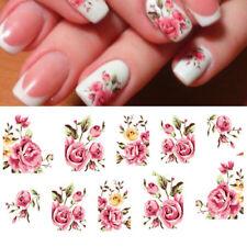 2X Adesivo sticker Pink Rose nail art decorazioni unghie trasferimento acqua