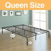 Queen Size Platform Bed Frame Heavy Duty Mattress Platform Folding Steel Base