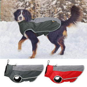 Reflective Waterproof Dog Winter Jacket Warm Dog Fleece Coat  Harness M-3XL