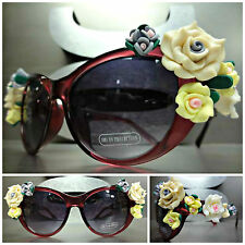 OVERSIZE VINTAGE RETRO 60s CAT EYE Style Floral SUN GLASSES FLOWERS ROSES Purple