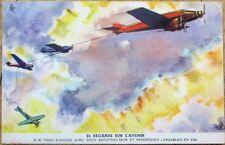 Byrrh 1930s Advertising Card-Airplane Aviation Scene-Aerotracteur-Train d'Avions