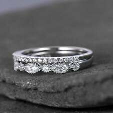 Band Cz Wedding Ring Set Sterling Silver Ring Cubic Zirconia Wedding
