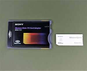 Rare vintage SONY MSAC-PC2 Memory Stick PC Card Adaptor with Sony memory stick
