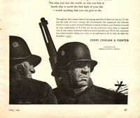 1943 WWII Stevan Dohanos Illustrated Every Civilian A Fighter Vintage Print Ad