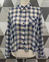 Free People Women's Size S Blue Plaid Button Front Long Sleeve Top Shirt #6F5