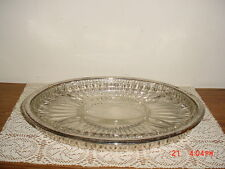 "LRG OVAL ""SILVER PLATE"" 14 1/4"" SERVING PLATTER/GLASS DIVIDED INSERT/CLEARANCE!"