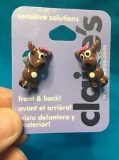 One Pair Of Claire's Moose With Pink Bow In Hair Front And Back Earrings New