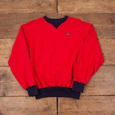 "Para Hombre 90s Vintage Polo Ralph Lauren USA BEAR sudadera Jumper Rojo S 36"" R3866"