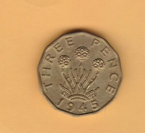 1945 GEORGE VI BRASS THREE PENCE IN NEAR MINT CONDITION