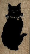 """mounted rubber stamp Black Cat sitting  wood mount size   1 3/4"""" X 3"""""""
