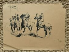 Otto Dill rare dessin ancien signé encre chevaux jockeys équitation course