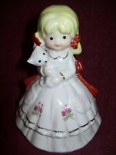 "Vintage GIRL WITH KITTEN BELL - White Porcelain with Gold Trim - 5"" Tall - VGC"