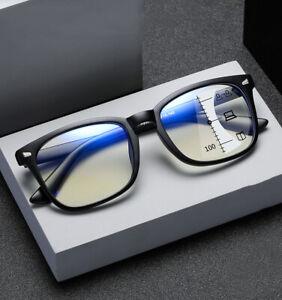 New Progressive Multifocus Reading Glasses TR90 Anti Blue Full-rim Magnifier