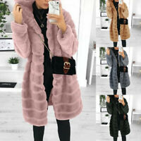 Womens Furry Plush Hooded Jacket Long Sleeve Faux Fur Coat Outerwear Winter Warm