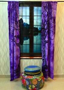 Purple Dry Tree Window Curtain Tie Dye Home Decor Wall Balcony Door Curtain Art