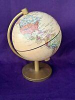 Vintage C.S. HAMMOND'S 8 INCH TERRESTRIAL World Globe Gold Metal Stand ❤️sj7m
