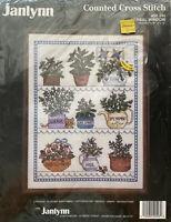 Janlynn Herbal Window Counted Cross Stitch Kit #50-546 Cat Herbs catnip basil
